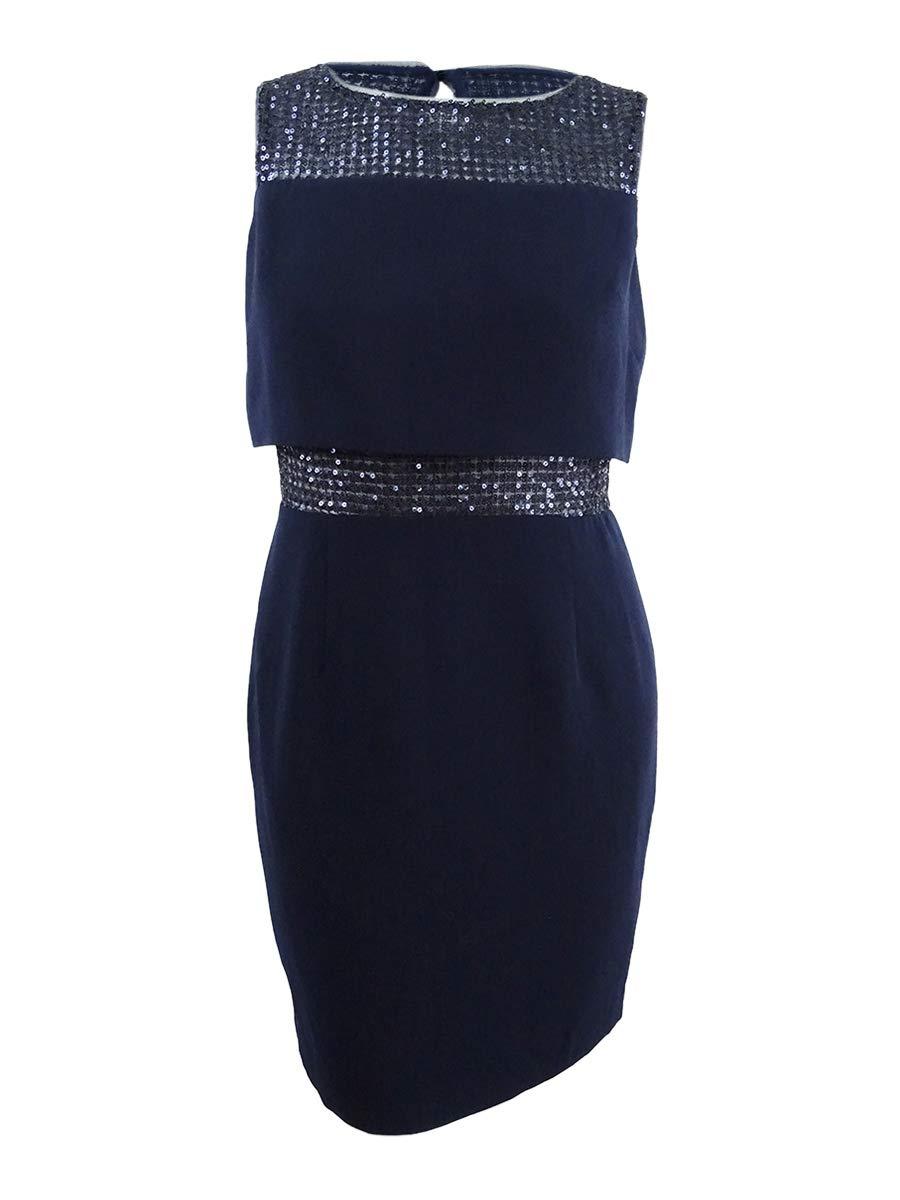 Available at Amazon: Calvin Klein Women's Sleeveless Beaded Neck and Waist Detail Sheath Dresss