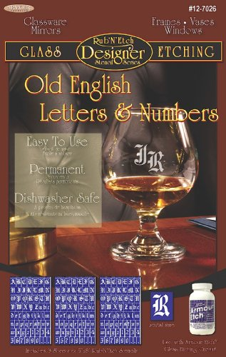 Armour Etch Designer Stencil Pak Old English Letters/Numbers