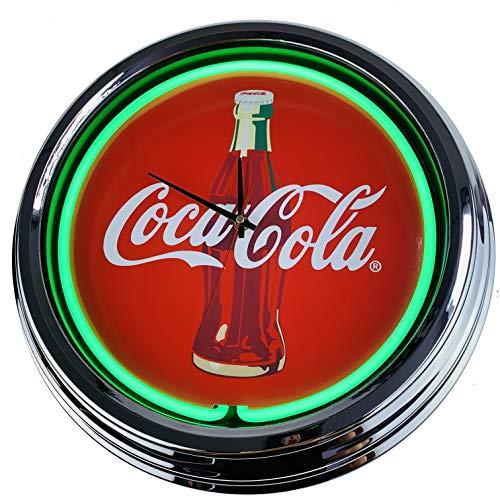 US-Way e.K. Coca-Cola - Reloj de Pared de neón, Estilo Retro de los años 50, Estilo Retro, Verde, ca.44cm