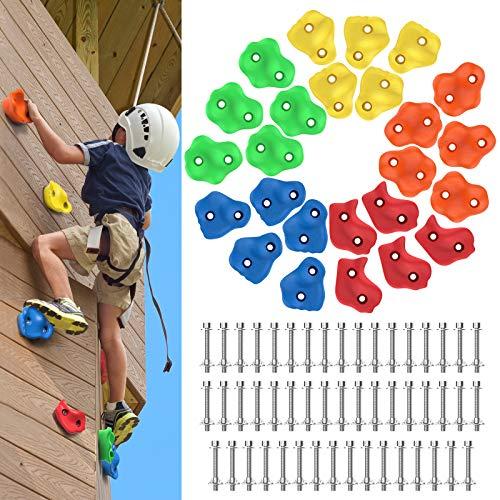 Rhino Valley Kinder Klettergriffe Set, 25 Stück Bunt Klettersteine Kletterwand Kit mit Befestigung Schrauben, Robust Baumklettergriffe Kletterfläche für Kletterwand Spielturm Schaukeln Outdoor, Bunt