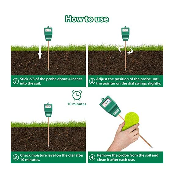 Soil Moisture Meter, S10 Soil Test Kit, Dr.meter Moisture Meter for Plants, Plant Water Meter for Garden Lawn Farm… 5 ▶ 【Compact & Portable】 Have you been sticking your finger in the soil hoping to feel when it's time to water? Why not eliminate the guesswork and keep your hands clean when you use the Dr.meter Soil Moisture Sensor Meter! Know the right time to water your garden, farm, lawn and plants, anytime. ▶ 【Easy to Read】No experience required--while this machine is sophisticated, it's not complicated! With an interface using ten scales and a color-coded reading system from red, green to blue, it's never been more straightforward reading your soil moisture. ▶ 【No Batteries Required】Who needs batteries or electricity? Just plug stick it into the ground and get a reading in no time!