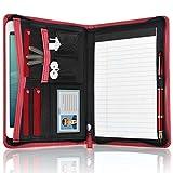 DAKX Padfolio for Women, Zippered Business Portfolio, Leather Padfolio Portfolio Binder 5.3 x 8 inch Writing Pad, Red