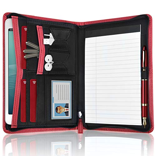 DAKX Padfolio for Women, Zippered Business Portfolio, Leather Padfolio Portfolio Binder 5.3 x 8 inch Writing Pad, Red