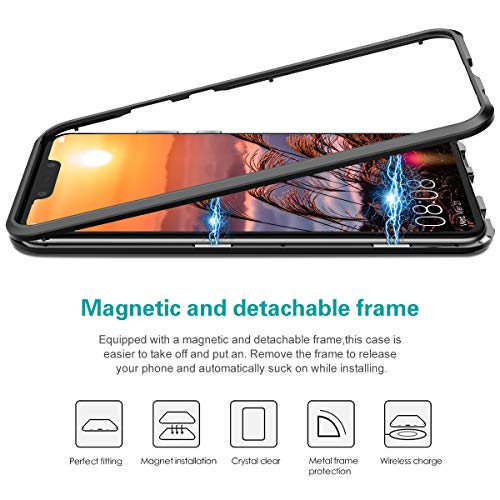 CE-Link Huawei Nova 3 Hülle Glas mit Magnetisch Panzerglas Durchsichtig Handyhülle Transparent Ultra Slim Dünn 360 Grad Schutzhülle Bumper Schutz - Schwarz - 2