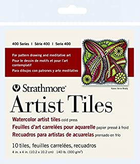 Strathmore 400 Series Watercolor Artist Tiles, Cold Press, 105-971, Paper, White, 4 x 4 Inches