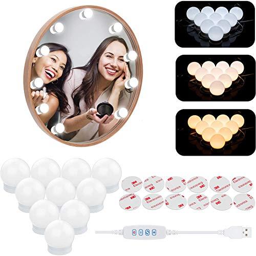 Led Spiegelleuchte, Hollywood Stil Schminklicht mit 10 Dimmbar Glühbirne Spiegellampe Schminkleuchte für Kosmetikspiegel, Schminktisch, Badzimmer Spiegel[Energieklasse A+++] (9M)