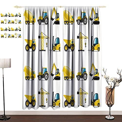 Amazing Boys Room Cortinas opacas paneles, camión grúa excavadora mezclador maquinaria de construcción para niños, decoración de guardería, cortinas de ventana, 243.8 cm de ancho x 183.8 cm de largo
