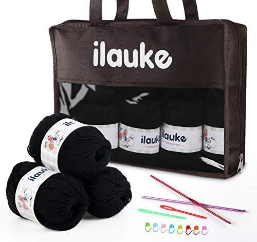 Ovillos de Lana de Hilo Acrílico 500g Suave y Cálido, 6 Capas DIY Tejer y Crochet para Suéteres Bufandas, 50g x 10 piezas (Negro)