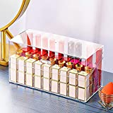 TreeBud Lipstick Holder with Lid, 36 Spaces Large Diameter Clear Lipstick Organizer Display Stand Cosmetic Makeup Organizer for Lipstick, Brushes, Bottles, and more