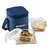 Borosil Indigo Glass Lunch Box Set of 2, 320 ml, Vertical, Microwave Safe