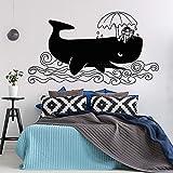 wZUN Frohe Feiertage Big Whale Vinyl Aufkleber Entspannende Wal Wandaufkleber Kinder Schlafzimmer Dekoration 90x50cm