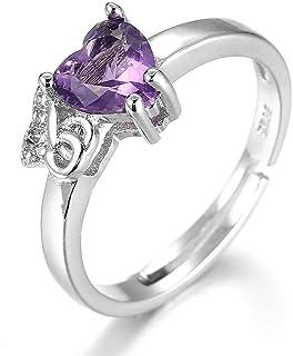 Lozse Anelli regolabili Donna anello amore a forma di diamante di apertura