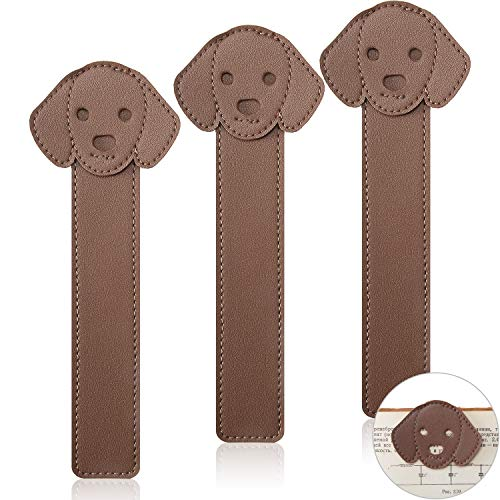 3 Pieces Faux Leather Dog Bookmarks PU Animal Puppy Bookmarks Handmade Personalized Reading Page Markers for Bookworms Book Lovers Writers Relatives Friends Men Women Teen Boys Girls, Brown
