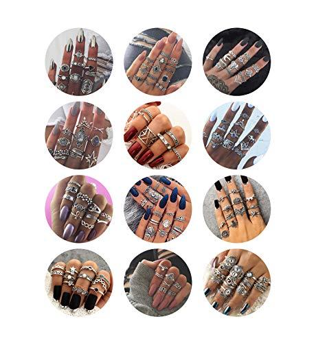 Milacolato 132 UNIDS Bohemia Knuckle Ring Set para Mujeres Hollow Silver Fashion Midi Anillos de Dedo Vintage Apilables Knuckle Midi Anillos Set