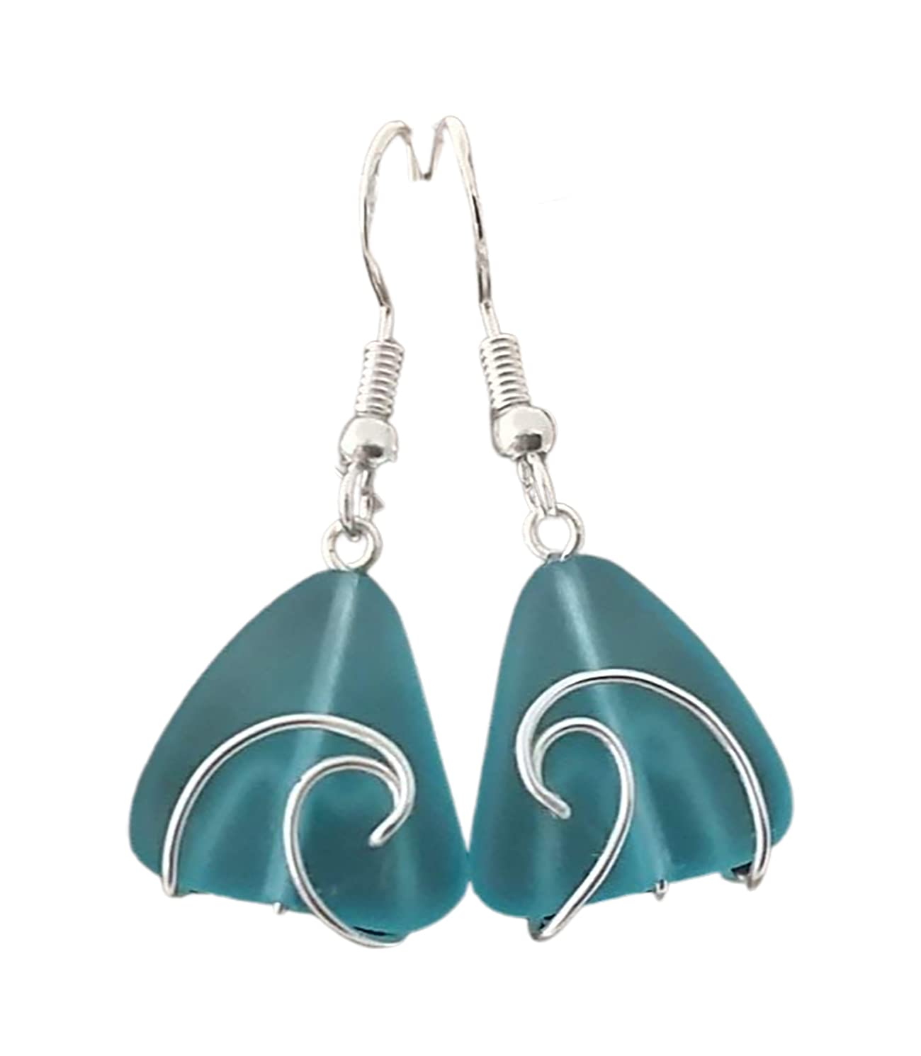 Handmade in Hawaii wire wrapped Inventory cleanup selling sale wave blue Selling rankings gi earrings glass sea