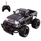 Big Wheel Beast RC Monster Truck Remote Control Doors Opening Car Light Up Headlights Ready to Run INCLUDES RECHARGEABLE BATTERY 1:14 Size Off-Road Toy (Black)