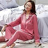 Pajamas Nightwear Cotton Couple Pajamas For Men and Women Full Sleeves Sleepwears Pyjama Set Couple Pijamas XXXL DarkPink