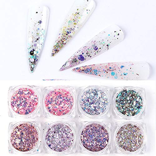 8 Box/Set Sparkly Mermaid Powder Nail Glitter Sequins Manicure 3D Hexagon Flakes Paillettes Holo Nail Art Decorations (Color : Multi-colored) - YYJHT YYJHT