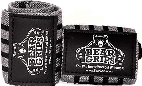"""Bear Grips Extra Strength Wrist Wraps. Superior Support Straps for Weight Lifting, Gym & Fitness Workout, Crossfit Wods. for Men & Women, Gray & Black, Size: 12"""" Length"""