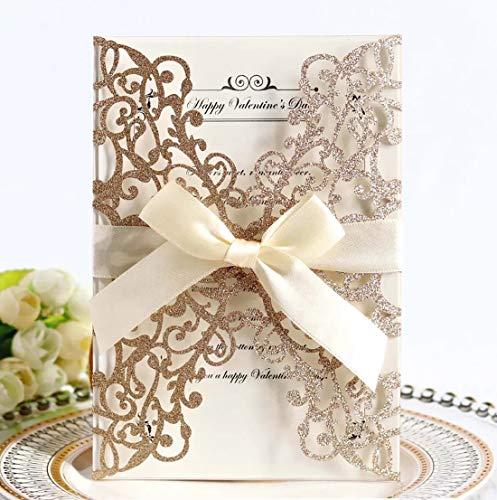 JinSu 20PCs Tarjetas de Boda, Corte con Laser Invitaciones Boda con Papel Imprimible y Sobres,para Bodas, Aniversario, Fiesta de cumpleaños, Celebraciones ( Oro rosa )