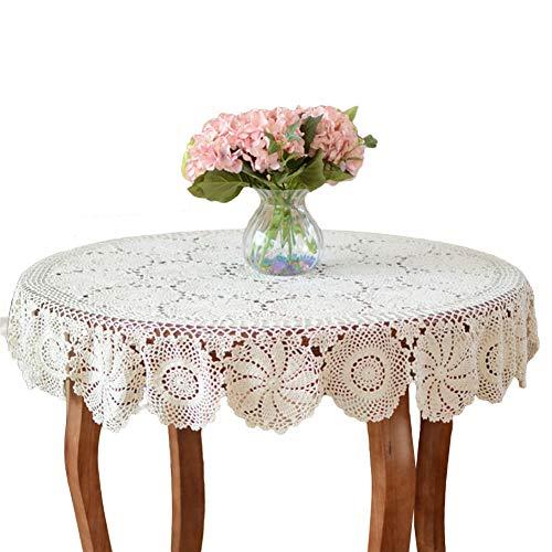 Yizunnu, Runde Vintage handgefertigte Häkeldecke, Baumwolle, Spitze, Tischdeckchen, für Hochzeit, Party, baumwolle, weiß, 130 cm