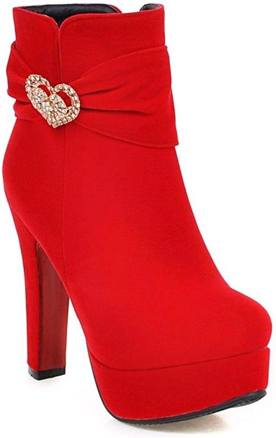 Autumn and Winter red Suede European and American Metal Decoration Lady Big Code Short Boots