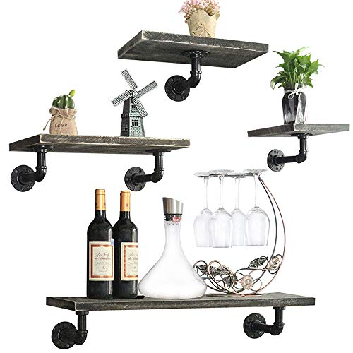 24-Inch Industrial Pipe Floating Shelves Wall Mounted, Rustic Wood Wall Shelves Set of 4 for Bedroom, Living Room, Bathroom, Kitchen, Office and More