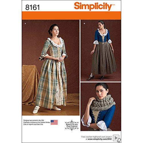 Simplicity Muster 8161Misses 'aus dem 18. Jahrhundert Kostüme Schnittmuster, weiß, Größe H5