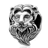 Abalorio de plata de ley 925 con diseño de león de la suerte, para pulsera Pandora (B)
