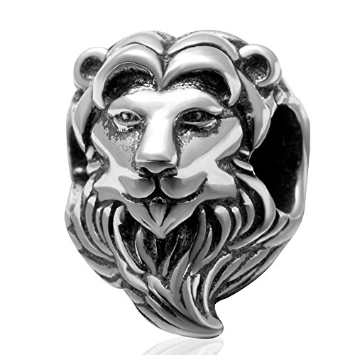 925 Sterling Silber Glücksbringer Löwe Tier Charm Glücksbringer Geburtstag Jahrestag Charm für Pandora Bettelarmband (B)