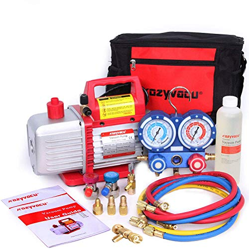 Kozyvacu Mini Split/HVAC/AUTO AC Repair Complete Tool Kit with 1-Stage 4.5 CFM Vacuum Pump, Manifold Gauge Set, Hoses...