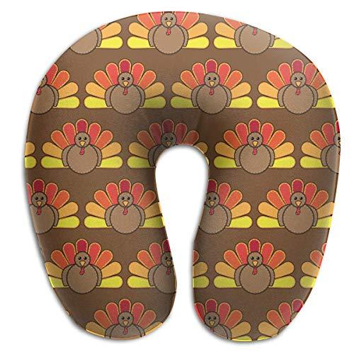 Lindo Día de Acción de Gracias Turquía Almohada de Espuma de Memoria Cuello Redondo en Forma de U Soporte para la Cabeza Aliviar la Fatiga Cervical para los Aviones para Dormir Tren y Camping