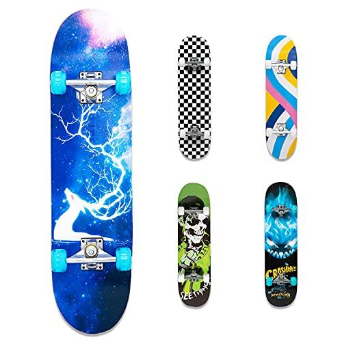 FlyFlash Skateboard, 31'x 8' Complete Standard Skate Boards for Girls Boys Beginner, 9 Layer Maple Double Kick Deck Skateboards for Kids Youth Teens