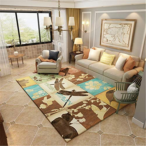 Kinntn tapijt, modern, voor woonkamer, slaapkamer, eetkamer, keuken, tapijt, vliegen en horen, extra groot, machinewasbaar, antislip, zacht 200x290cm