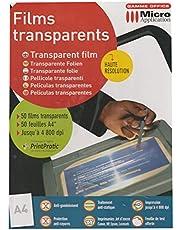 50 hojas transparentes A4 máx. 4800 ppp papel transparente para impresoras. Ref: 5327