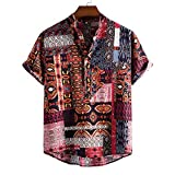 GBEN Verano Funky Camisa Hawaiana de Hombre Manga Corta Casual Frente Impresión Camisa Moda Hawaiana Camiseta Camiseta