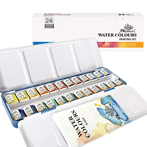Phoenix Artist Grade Watercolor Paint Set Half Pan 24 Colors - Non-Toxic Watercolor Painting Set Tin Box for Professional Artists