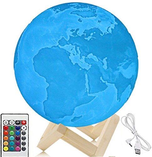 Diameter 7.1 inches Earth Lamp, 3D Printing LED 16 Colors...