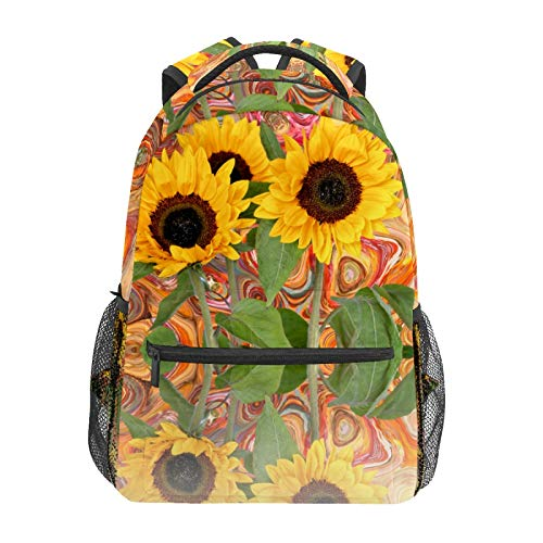 Bright Sunflower Flowers Colorful Abstract Background School Backpack Large Capacity Canvas Rucksack Satchel Casual Travel Daypack for Children Adult Teen Women Men