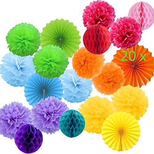20 Pompones Decoracion Multicolor Flores Pompom de Papel de Seda, Abanicos, Bolas de Nido de Abeja Guirnaldas. Decoración Fiesta Carnaval y Cumpleaños -20 Piezas-