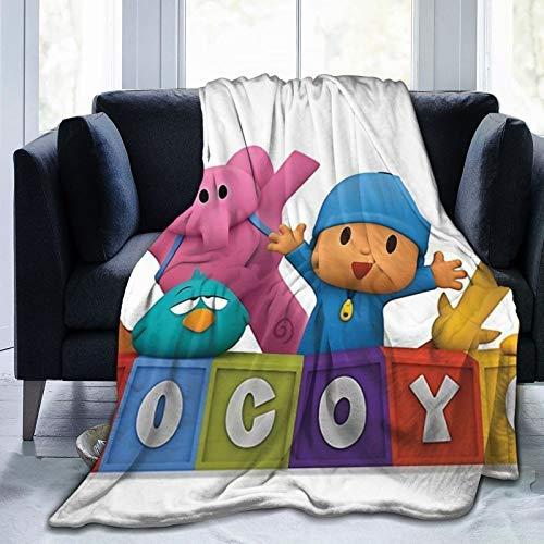 Fouryo Pocoyo Elly Pato Tv 2019 - Manta de franela ultra suave y ligera, 80 x 60