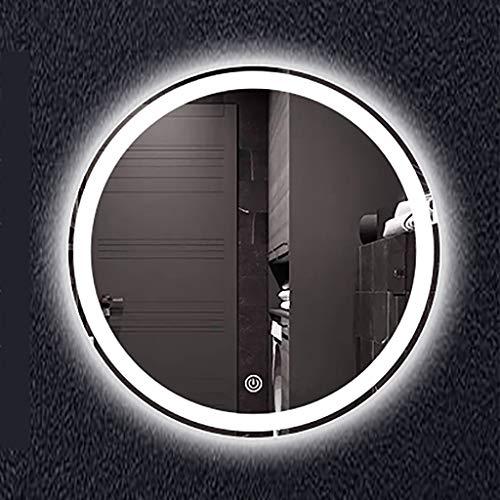 Ronde badkamerspiegel gemonteerd aan de wand, verlichte make-upspiegel voor de slaapkamer, ontploffingsbestendige spiegel met touch-schakelaar, diameter: 60/70/80 cm