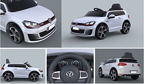 RC Auto kaufen Kinderauto Bild 3: ES-TOYS Kinderfahrzeug - Elektro Auto VW Golf 7 GTI - lizenziert - 12V7AH Akku,2 Motoren- 2,4Ghz Fernsteuerung, MP3-Weiss*