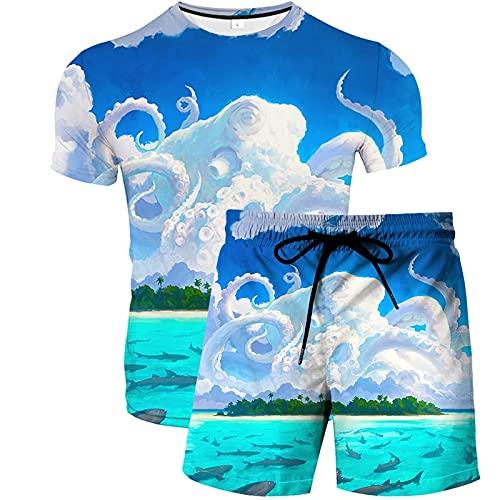 Unisexo ImpresióN Divertida 3D Camiseta y Pantalones Cortos de NatacióN Tops de Manga Corta de Verano para Hombre Beach Trunks Surf Gym Pantalones con CordóN para Vacaciones Trajes 2pcs