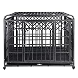 SMONTER 42' Heavy Duty Dog Cage Strong Metal Crate Round Corner Design Pet Kennel Playpen with Two Prevent Escape Lock-Large Dogs Cage with Wheels(Dark Silver)