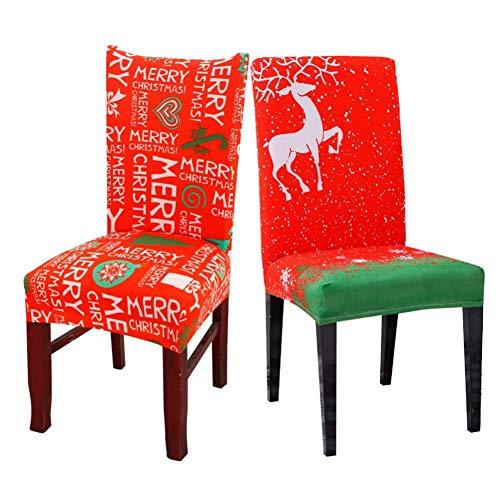 ZHAOZX Housses de Chaise de Noël en Forme d'élan Père Noël Décoration de Table Nouvel an