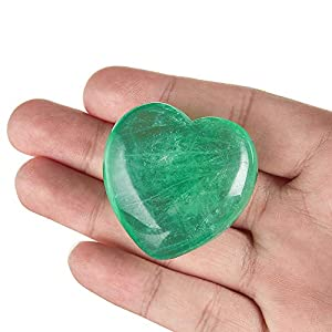 "UFEEL Natural Grade AAA Green Fluorite Puffy Heart Stone Palm Worry Stone for Chakra Reiki Balancing, Meditation and DecorationPack of 1(1.6"")"