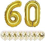 Globos Cumpleaños 60Años Decoracion Cumpleaños Oro Globo de Confeti 60 Fiesta de Cumpleaños Globos Numeros 60 Gigantes 101cm Helio Globos Decoracion Cumpleaños Decoración
