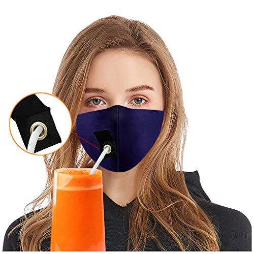Atmungsaktive Gesichtsbandanas mit Trinkloch, Unisex, wiederverwendbar, staubdicht, Mundschutz, navy