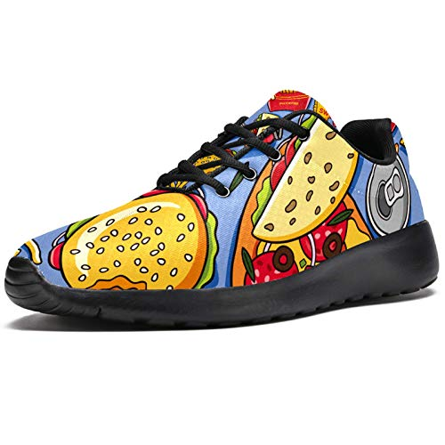 Zapatillas deportivas para correr para mujer American Delicious Fat Food Patrón de moda zapatillas de malla transpirable caminar senderismo tenis, color, talla 41.5 EU